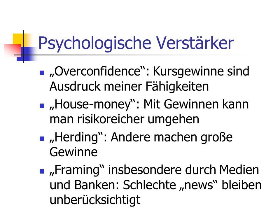 Psychologische Verstärker Overconfidence: Kursgewinne sind Ausdruck meiner Fähigkeiten House-money: Mit Gewinnen kann man risikoreicher umgehen Herdin