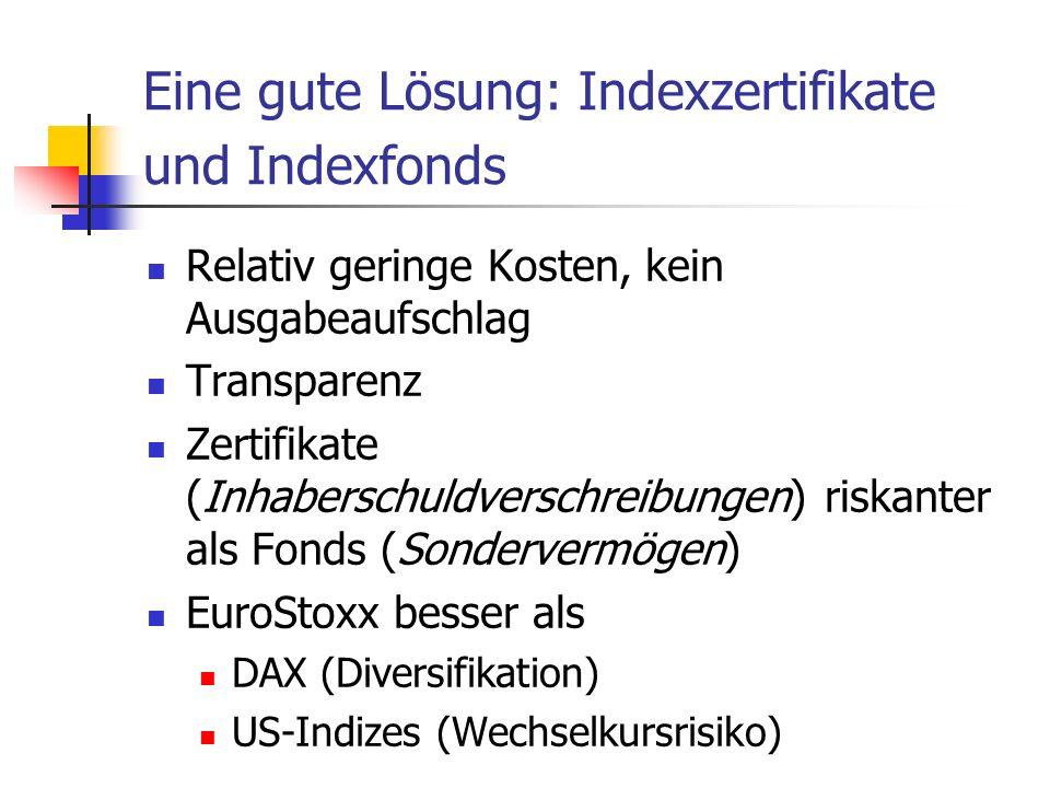 Eine gute Lösung: Indexzertifikate und Indexfonds Relativ geringe Kosten, kein Ausgabeaufschlag Transparenz Zertifikate (Inhaberschuldverschreibungen) riskanter als Fonds (Sondervermögen) EuroStoxx besser als DAX (Diversifikation) US-Indizes (Wechselkursrisiko)