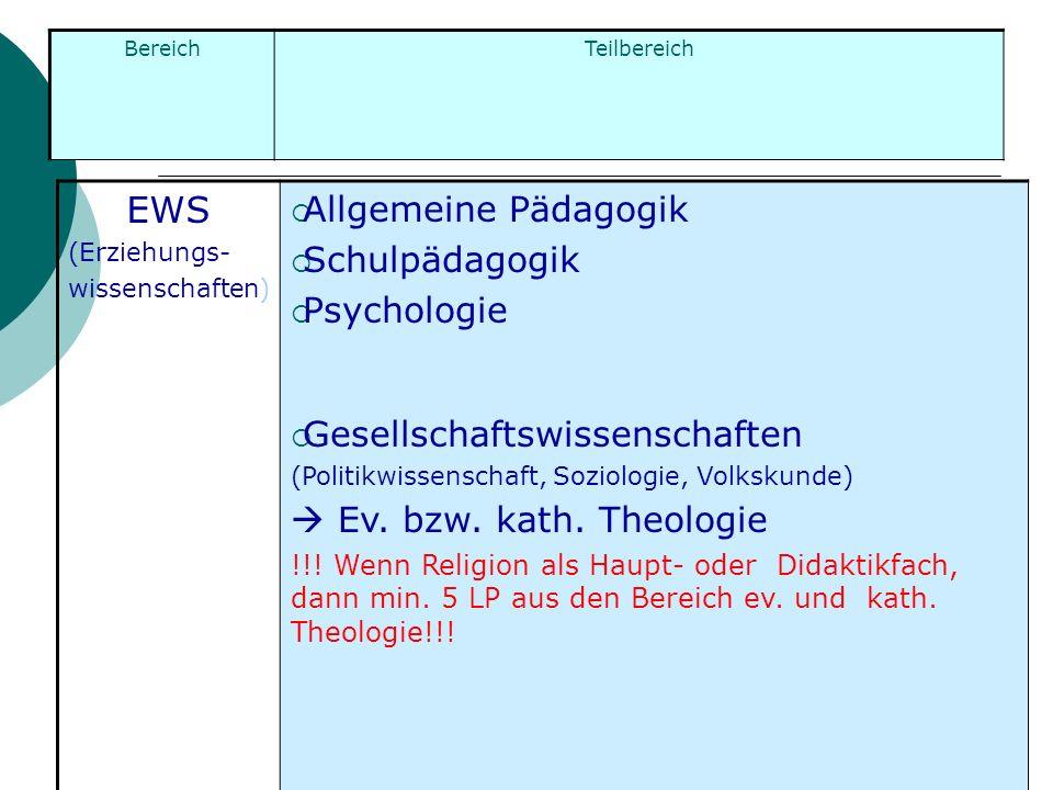 EWS (Erziehungs- wissenschaften) Allgemeine Pädagogik Schulpädagogik Psychologie Gesellschaftswissenschaften (Politikwissenschaft, Soziologie, Volksku