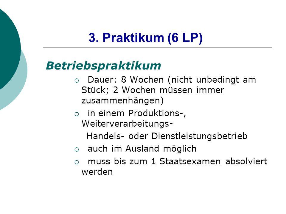 3. Praktikum (6 LP) Betriebspraktikum Dauer: 8 Wochen (nicht unbedingt am Stück; 2 Wochen müssen immer zusammenhängen) in einem Produktions-, Weiterve