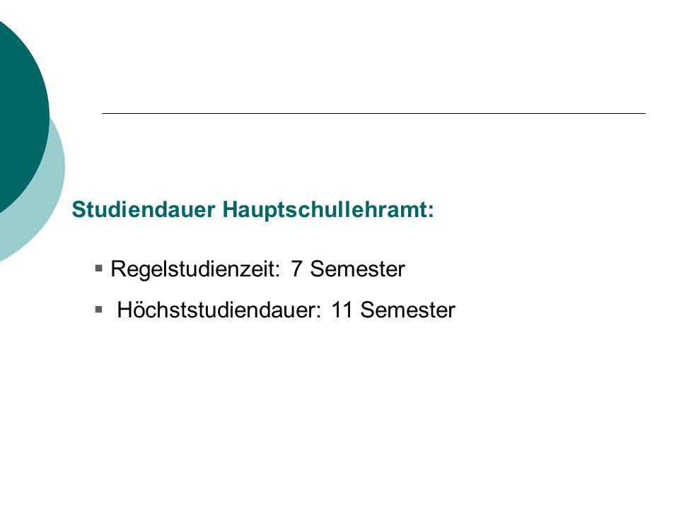 Studiendauer Hauptschullehramt: Regelstudienzeit: 7 Semester Höchststudiendauer: 11 Semester