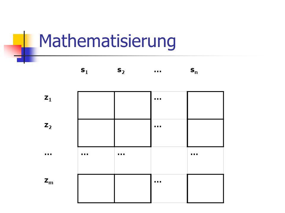 Mathematisierung s1s1 s2s2...snsn z1z1 z2z2 zmzm