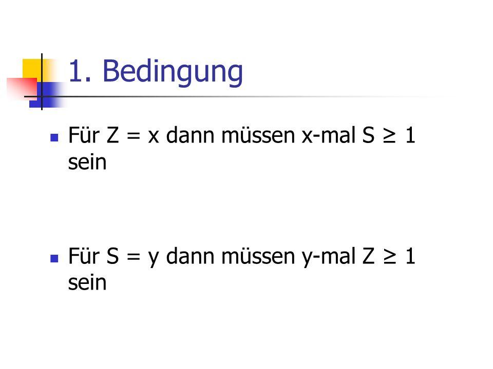 1. Bedingung Für Z = x dann müssen x-mal S 1 sein Für S = y dann müssen y-mal Z 1 sein