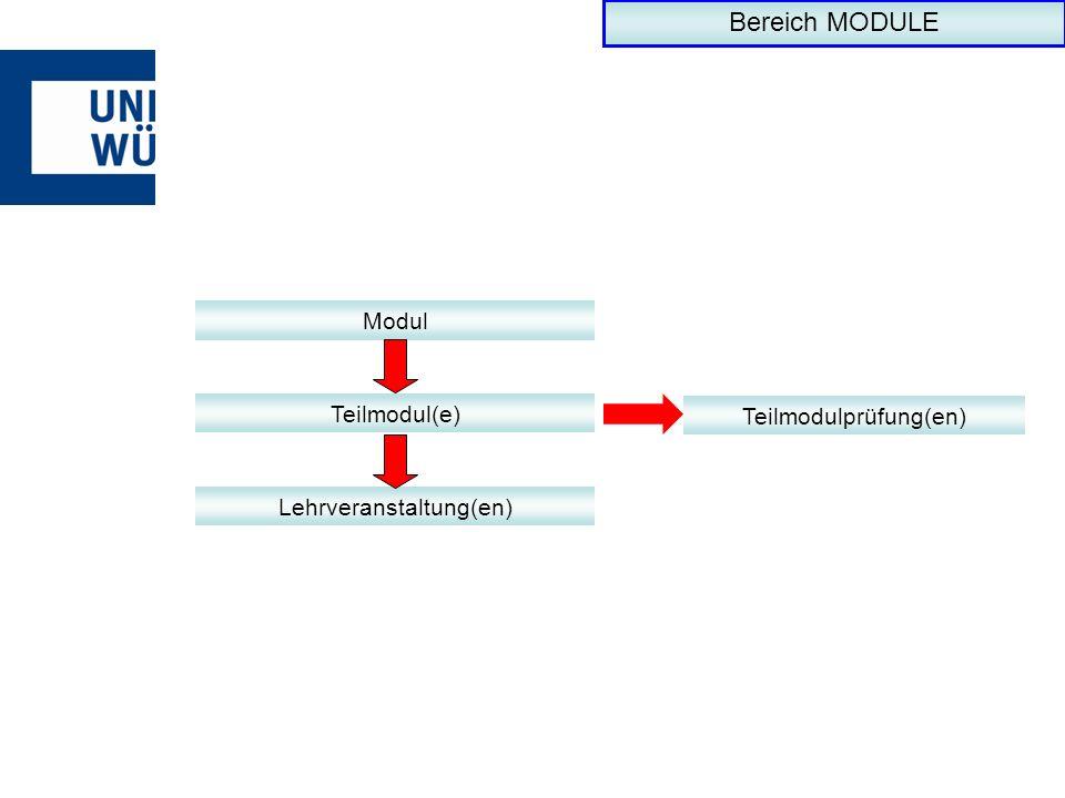 Modul Teilmodul(e) Lehrveranstaltung(en) Teilmodulprüfung(en) Bereich MODULE