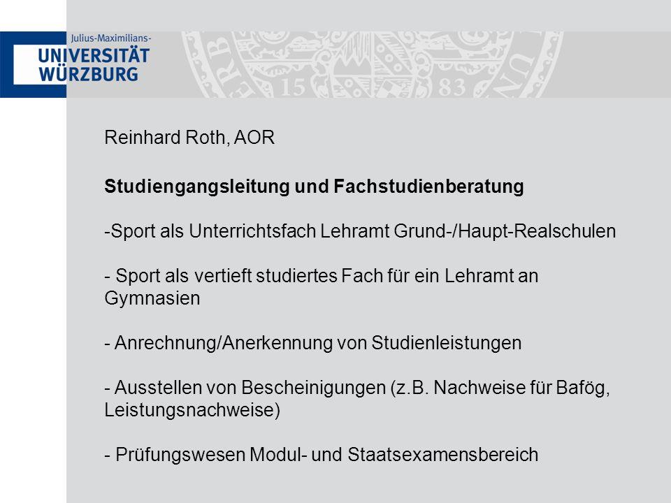 Reinhard Roth, AOR Studiengangsleitung und Fachstudienberatung -Sport als Unterrichtsfach Lehramt Grund-/Haupt-Realschulen - Sport als vertieft studie