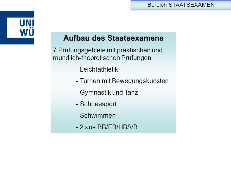 Bereich STAATSEXAMEN Aufbau des Staatsexamens 7 Prüfungsgebiete mit praktischen und mündlich-theoretischen Prüfungen - Leichtathletik - Turnen mit Bew