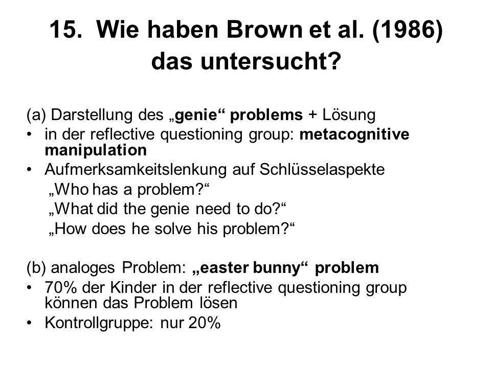 15. Wie haben Brown et al. (1986) das untersucht? (a) Darstellung des genie problems + Lösung in der reflective questioning group: metacognitive manip