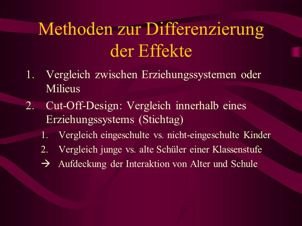 Methoden zur Differenzierung der Effekte 1.Vergleich zwischen Erziehungssystemen oder Milieus 2.Cut-Off-Design: Vergleich innerhalb eines Erziehungssy