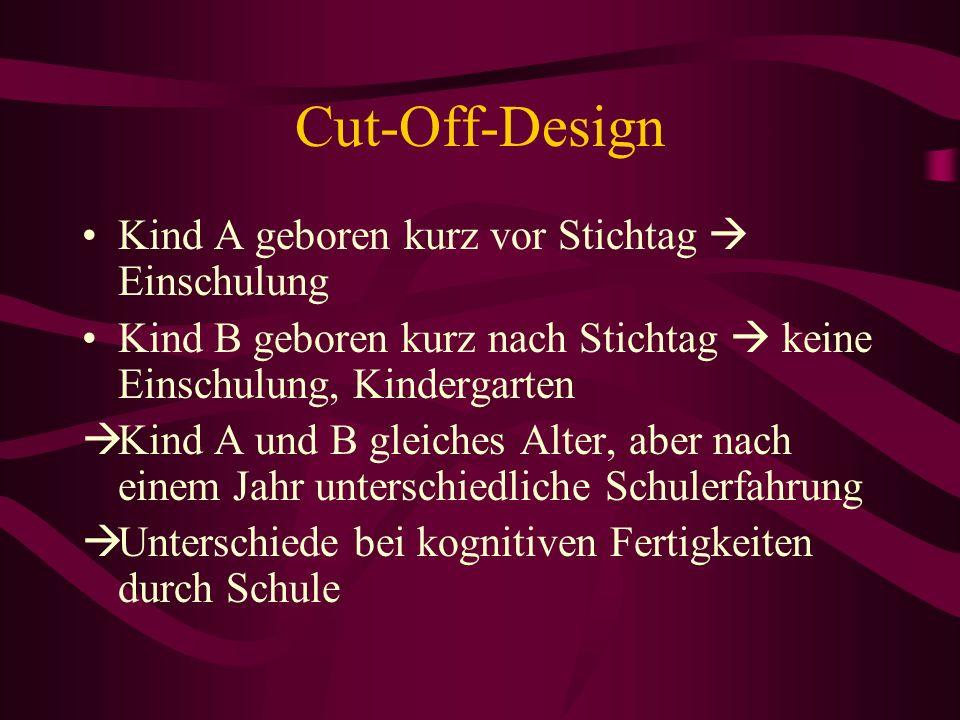 Cut-Off-Design Kind A geboren kurz vor Stichtag Einschulung Kind B geboren kurz nach Stichtag keine Einschulung, Kindergarten Kind A und B gleiches Al