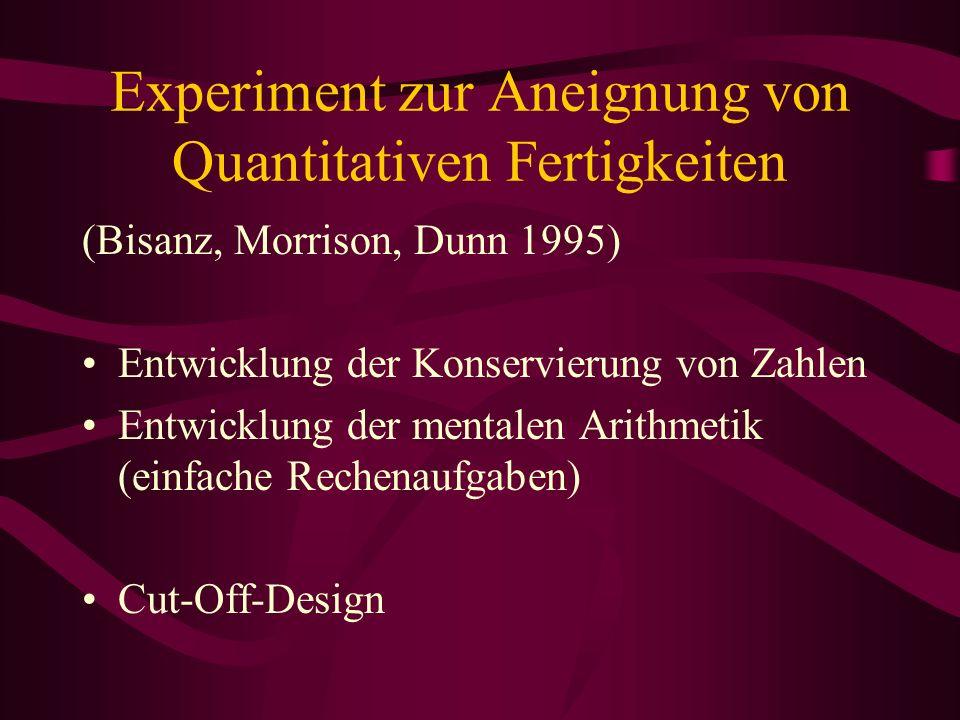 Experiment zur Aneignung von Quantitativen Fertigkeiten (Bisanz, Morrison, Dunn 1995) Entwicklung der Konservierung von Zahlen Entwicklung der mentale
