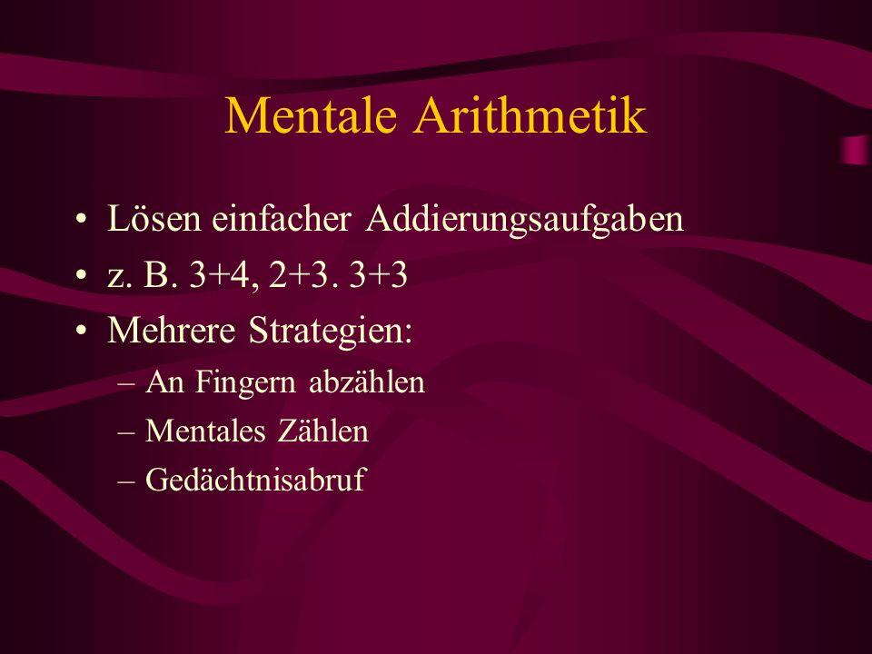 Mentale Arithmetik Lösen einfacher Addierungsaufgaben z. B. 3+4, 2+3. 3+3 Mehrere Strategien: –An Fingern abzählen –Mentales Zählen –Gedächtnisabruf