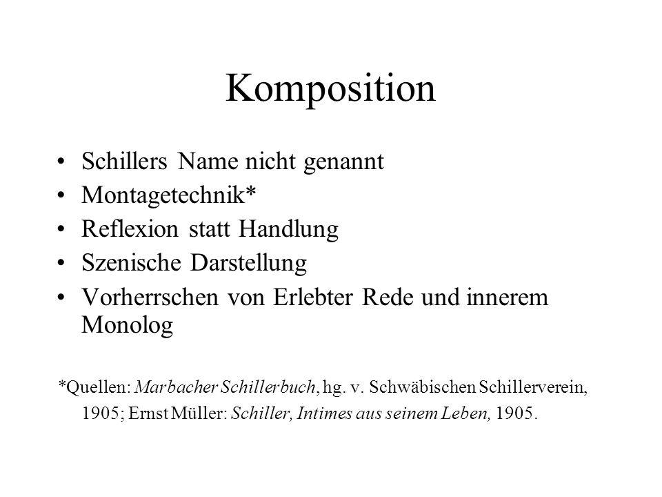 Komposition Schillers Name nicht genannt Montagetechnik* Reflexion statt Handlung Szenische Darstellung Vorherrschen von Erlebter Rede und innerem Mon