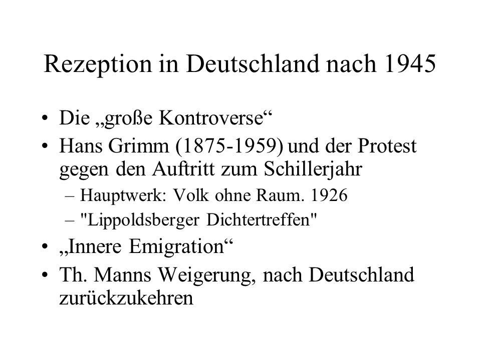 Rezeption in Deutschland nach 1945 Die große Kontroverse Hans Grimm (1875-1959) und der Protest gegen den Auftritt zum Schillerjahr –Hauptwerk: Volk o