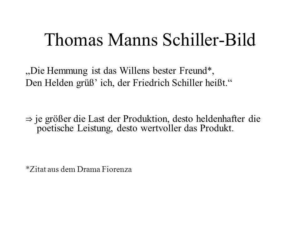 Thomas Manns Schiller-Bild Die Hemmung ist das Willens bester Freund*, Den Helden grüß ich, der Friedrich Schiller heißt. je größer die Last der Produ