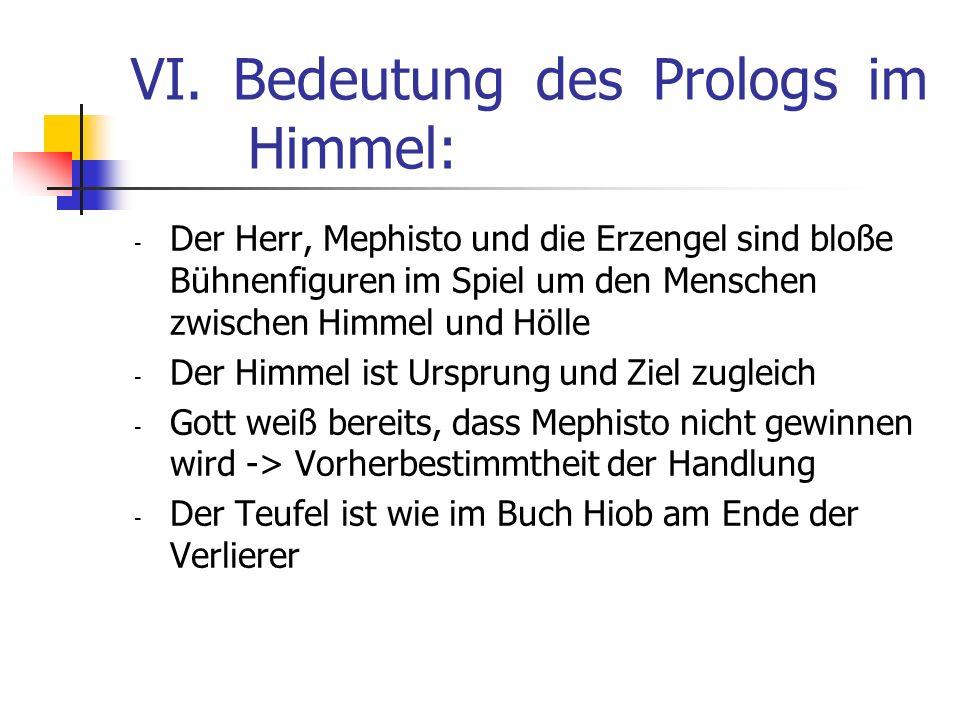 VI. Bedeutung des Prologs im Himmel: - Der Herr, Mephisto und die Erzengel sind bloße Bühnenfiguren im Spiel um den Menschen zwischen Himmel und Hölle