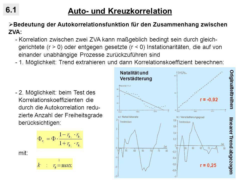 Auto- und Kreuzkorrelation 6.1 Bedeutung der Autokorrelationsfunktion für den Zusammenhang zwischen ZVA: - Korrelation zwischen zwei ZVA kann maßgebli