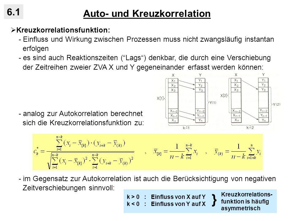 Auto- und Kreuzkorrelation 6.1 Kreuzkorrelationsfunktion: - Einfluss und Wirkung zwischen Prozessen muss nicht zwangsläufig instantan erfolgen - es si