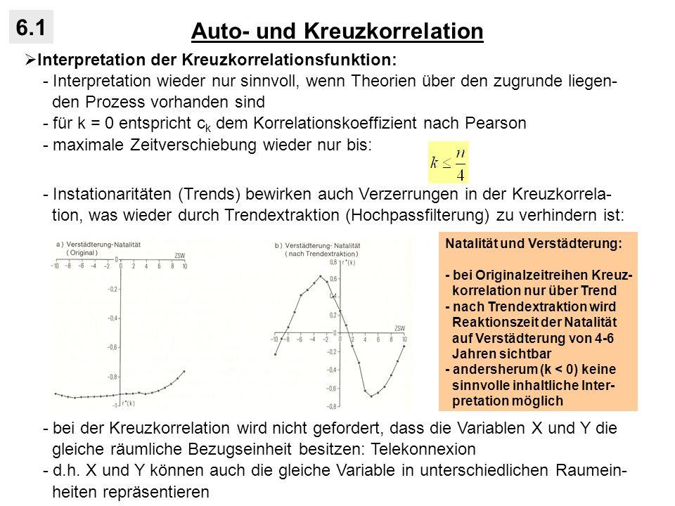 Auto- und Kreuzkorrelation 6.1 Interpretation der Kreuzkorrelationsfunktion: - Interpretation wieder nur sinnvoll, wenn Theorien über den zugrunde lie