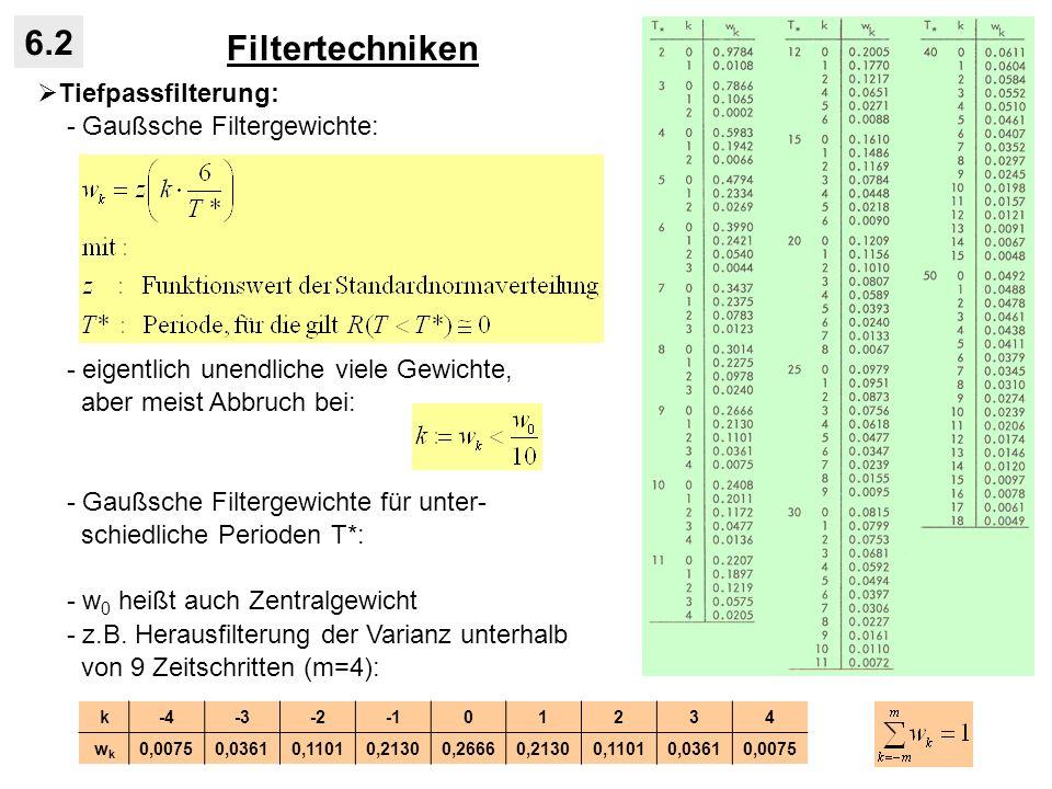 Filtertechniken 6.2 Tiefpassfilterung: - Gaußsche Filtergewichte: - eigentlich unendliche viele Gewichte, aber meist Abbruch bei: - Gaußsche Filtergew