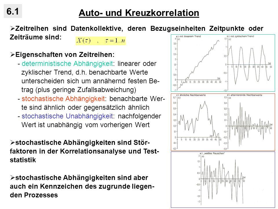 Auto- und Kreuzkorrelation 6.1 in der Natur weisen viel Prozesse stochastische Abhängigkeiten zwischen zeitlich oder räumlich benachbarten Objekten auf: - stochastische Abhängigkeiten in Zeit und Raum - über Transfer von Masse, Energie oder Information - Zustand eines Objektes jedoch nicht exakt aus dem Zustand der Nachbarn zu bestimmen (deterministisch), sondern nur mit gewisser (hoher) Wahrschein- lichkeit (stochastisch) - Wiederholbarkeit eines solchen Prozesses ist nie exakt gegeben Beispiel Kernspaltung von 235 U: - ein Neutron reicht aus, um bei einer kritischen Masse von Uran eine Ketten- reaktion hervorzurufen, die zur Spaltung aller Atomkerne von 235 U führt - Zustand eines U-Atoms abhängig von Zuständen der Nachbarn - Prozess besitzt starke Erhaltungsneigung ohne weitere äußere Einwirkung radioaktive Strahlung