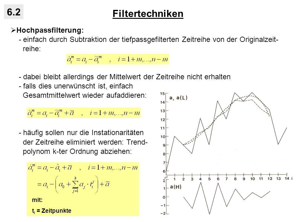 Filtertechniken 6.2 Hochpassfilterung: - einfach durch Subtraktion der tiefpassgefilterten Zeitreihe von der Originalzeit- reihe: - dabei bleibt aller