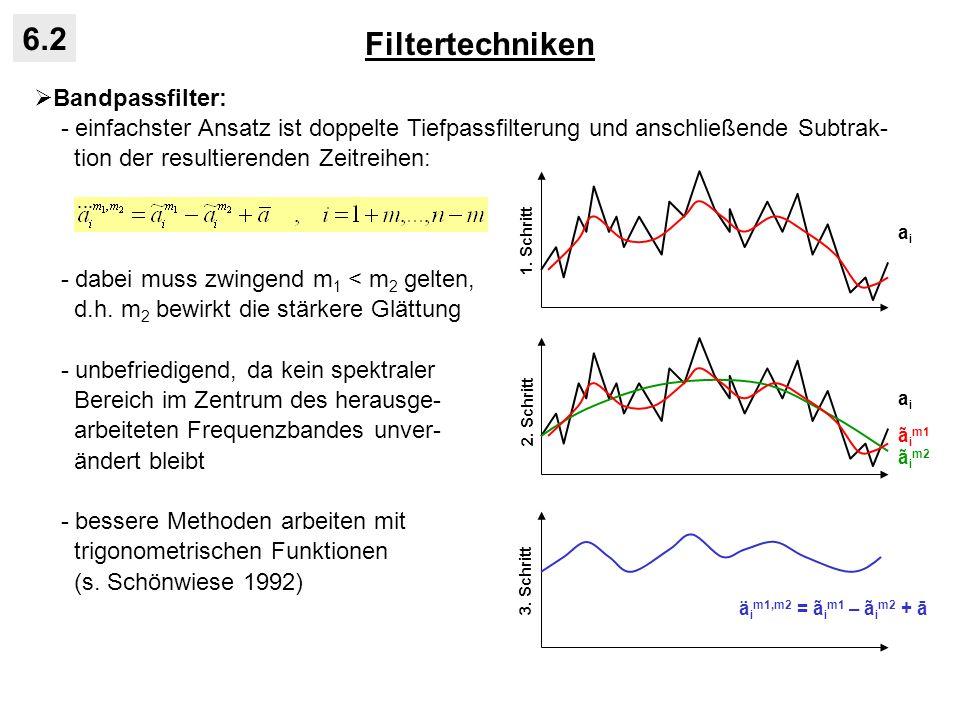 Filtertechniken 6.2 Bandpassfilter: - einfachster Ansatz ist doppelte Tiefpassfilterung und anschließende Subtrak- tion der resultierenden Zeitreihen: