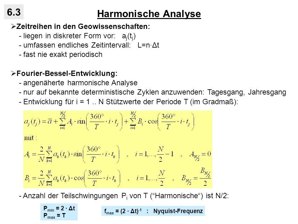 Harmonische Analyse 6.3 Zeitreihen in den Geowissenschaften: - liegen in diskreter Form vor: a j (t j ) - umfassen endliches Zeitintervall: L=nΔt - fa