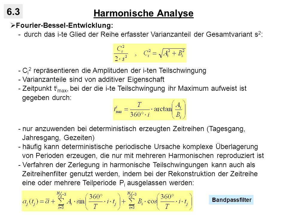 Harmonische Analyse 6.3 Fourier-Bessel-Entwicklung: - durch das i-te Glied der Reihe erfasster Varianzanteil der Gesamtvariant s 2 : - C i 2 repräsent