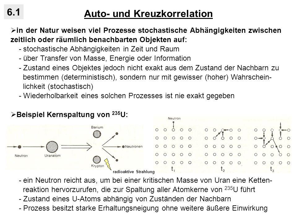 Auto- und Kreuzkorrelation 6.1 Interpretation der Kreuzkorrelationsfunktion: - Indikator für positive und negative Rückkopplungen zwischen Systemkompo- nenten: - entsprechende Kreuzkorrelationsfunktionen mit / ohne Vorzeichenwechsel: positive Rückkopplung: Destabilisierung, nichtlineares Fehlerwachstum negative Rückkopplung: Stabilisierung, Dämpfung A+A+ O+O+ A-A- O-O- ckck k -6 -5 -4 -3 -2 -1 1 2 3 4 5 6 +1,0 +0,5 -0,5 -1,0 positive Rückkopplung: c k ohne Vorzeichenwechsel für negative und positive k negative Rückkopplung: c k mit Vorzeichenwechsel für negative und positive k