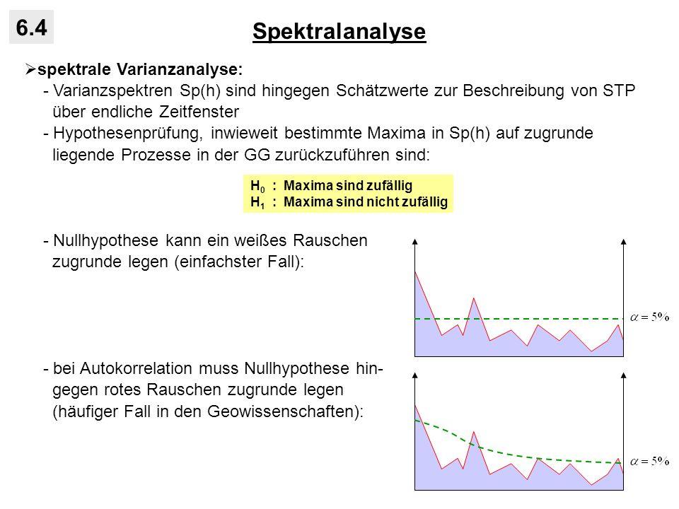 Spektralanalyse 6.4 spektrale Varianzanalyse: - Varianzspektren Sp(h) sind hingegen Schätzwerte zur Beschreibung von STP über endliche Zeitfenster - H