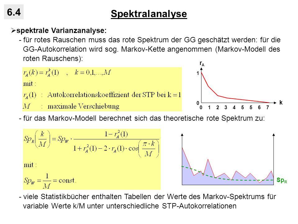 Spektralanalyse 6.4 spektrale Varianzanalyse: - für rotes Rauschen muss das rote Spektrum der GG geschätzt werden: für die GG-Autokorrelation wird sog