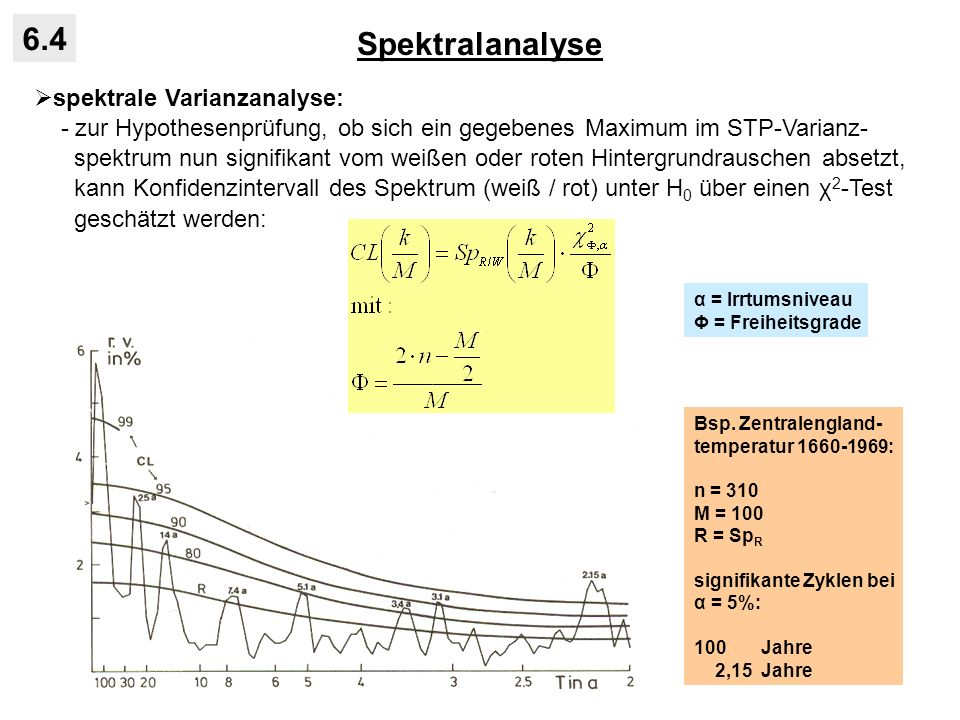 Spektralanalyse 6.4 spektrale Varianzanalyse: - zur Hypothesenprüfung, ob sich ein gegebenes Maximum im STP-Varianz- spektrum nun signifikant vom weiß