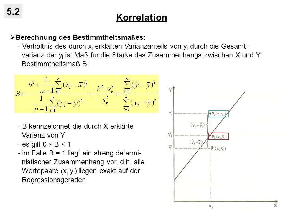 Korrelation 5.2 Berechnung des Bestimmtheitsmaßes: - Verhältnis des durch x i erklärten Varianzanteils von y i durch die Gesamt- varianz der y i ist Maß für die Stärke des Zusammenhangs zwischen X und Y: Bestimmtheitsmaß B: - B kennzeichnet die durch X erklärte Varianz von Y - es gilt 0 B 1 - im Falle B = 1 liegt ein streng determi- nistischer Zusammenhang vor, d.h.