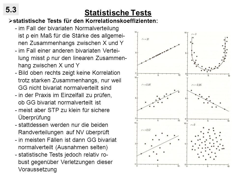 Statistische Tests 5.3 statistische Tests für den Korrelationskoeffizienten: - im Fall der bivariaten Normalverteilung ist ρ ein Maß für die Stärke des allgemei- nen Zusammenhangs zwischen X und Y - im Fall einer anderen bivariaten Vertei- lung misst ρ nur den linearen Zusammen- hang zwischen X und Y - Bild oben rechts zeigt keine Korrelation trotz starken Zusammenhangs, nur weil GG nicht bivariat normalverteilt sind - in der Praxis im Einzelfall zu prüfen, ob GG bivariat normalverteilt ist - meist aber STP zu klein für sichere Überprüfung - stattdessen werden nur die beiden Randverteilungen auf NV überprüft - in meisten Fällen ist dann GG bivariat normalverteilt (Ausnahmen selten) - statistische Tests jedoch relativ ro- bust gegenüber Verletzungen dieser Voraussetzung
