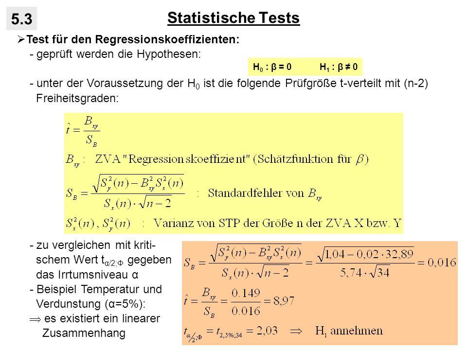 Statistische Tests 5.3 Test für den Regressionskoeffizienten: - geprüft werden die Hypothesen: - unter der Voraussetzung der H 0 ist die folgende Prüfgröße t-verteilt mit (n-2) Freiheitsgraden: - zu vergleichen mit kriti- schem Wert t α/2;Φ gegeben das Irrtumsniveau α - Beispiel Temperatur und Verdunstung (α=5%): es existiert ein linearer Zusammenhang H 0 : β = 0 H 1 : β 0