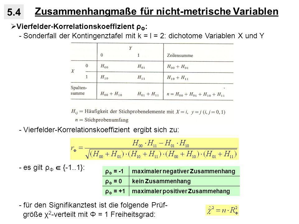 Zusammenhangmaße für nicht-metrische Variablen 5.4 Vierfelder-Korrelationskoeffizient ρ Φ : - Sonderfall der Kontingenztafel mit k = l = 2: dichotome Variablen X und Y - Vierfelder-Korrelationskoeffizient ergibt sich zu: - es gilt ρ Φ {-1..1}: - für den Signifikanztest ist die folgende Prüf- größe χ 2 -verteilt mit Φ = 1 Freiheitsgrad: ρ Φ = -1maximaler negativer Zusammenhang ρ Φ = 0kein Zusammenhang ρ Φ = +1maximaler positiver Zusammehang