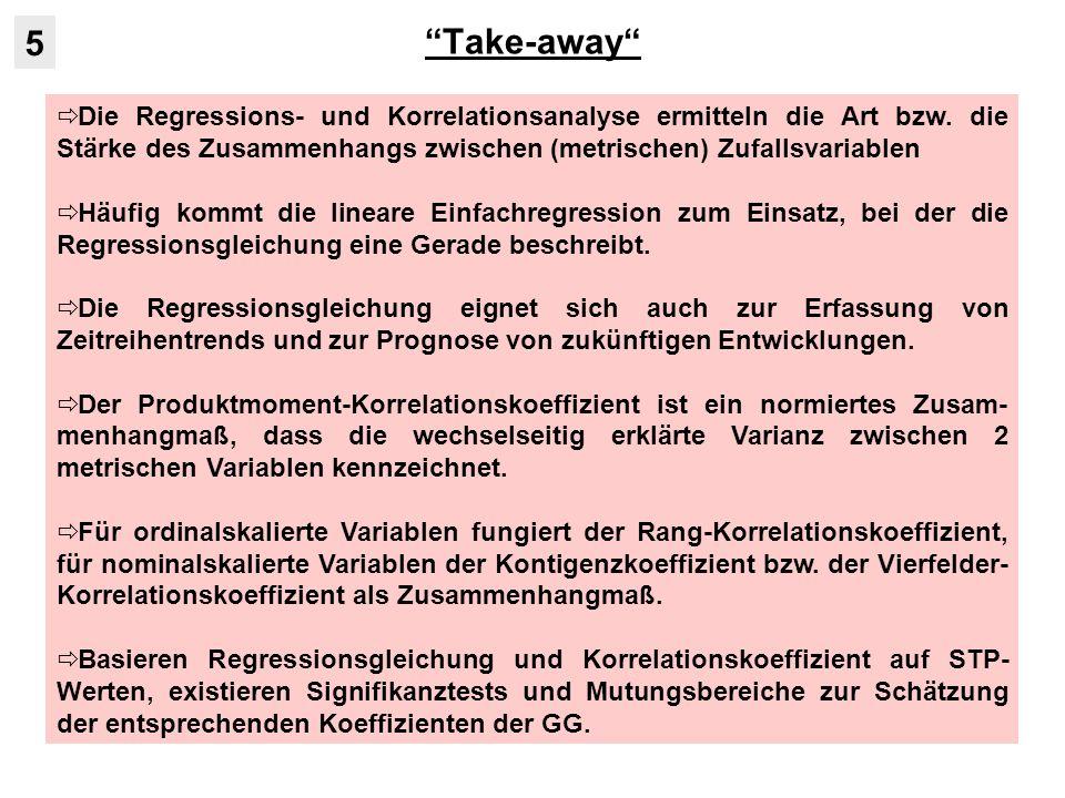 Take-away Die Regressions- und Korrelationsanalyse ermitteln die Art bzw.