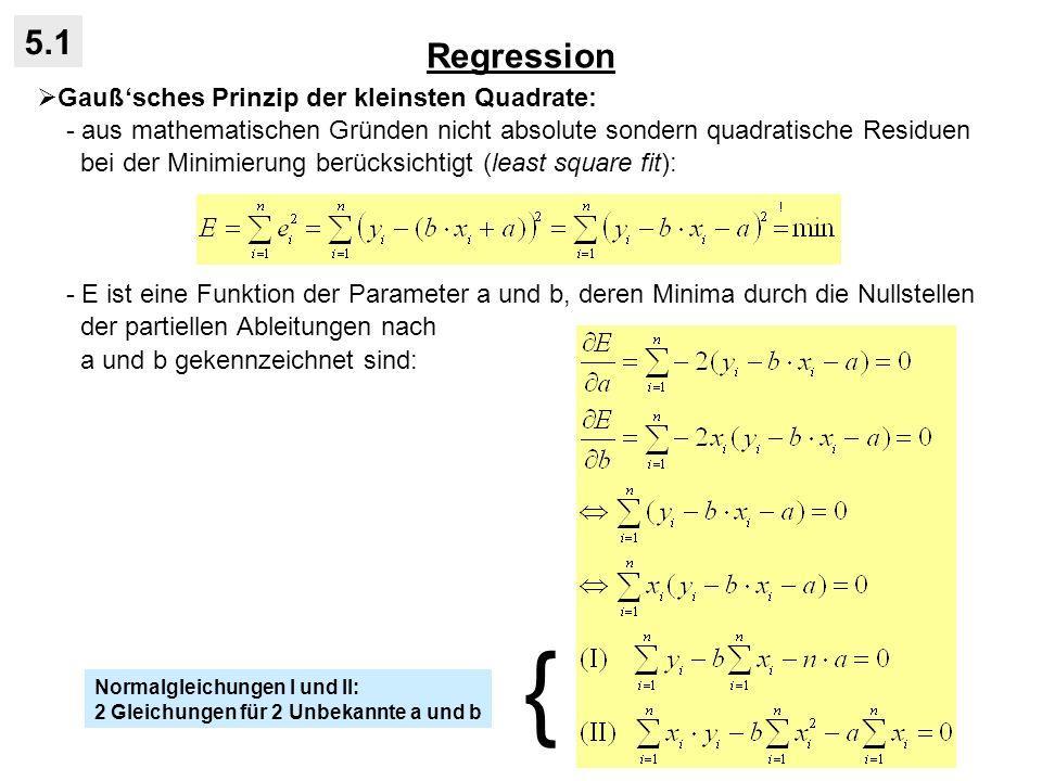 Statistische Tests 5.3 Konfidenzintervall für den Regressionskoeffizienten: - β liegt mit einer Irrtumswahrscheinlichkeit α im Konfidenzintervall: - Beispiel Temperatur und Verdunstung: - graphisch lässt sich das Konfidenzinter- vall über die beiden Grenzgeraden ver- anschaulichen: - die Grenzgeraden haben immer das arithmetische Mittelzentrum als Dreh- punkt