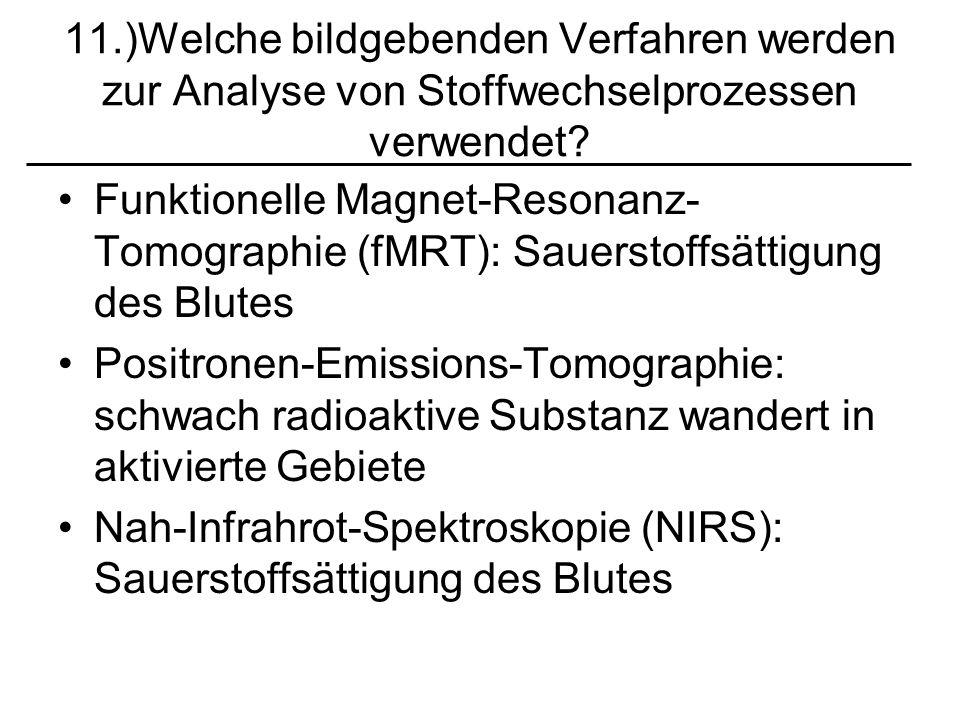 11.)Welche bildgebenden Verfahren werden zur Analyse von Stoffwechselprozessen verwendet? Funktionelle Magnet-Resonanz- Tomographie (fMRT): Sauerstoff