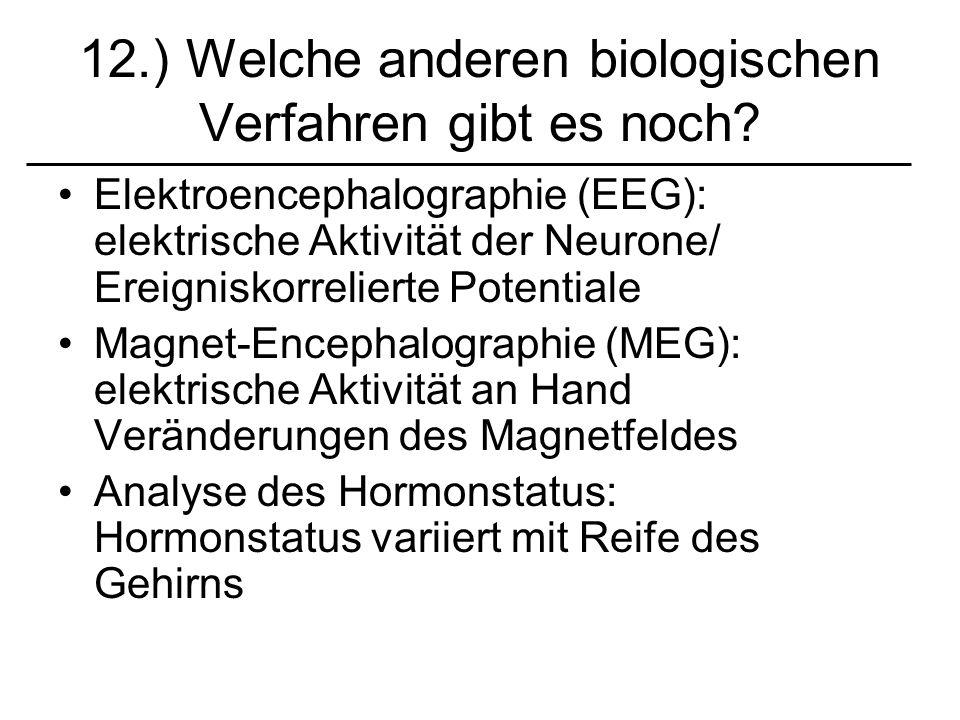 12.) Welche anderen biologischen Verfahren gibt es noch? Elektroencephalographie (EEG): elektrische Aktivität der Neurone/ Ereigniskorrelierte Potenti