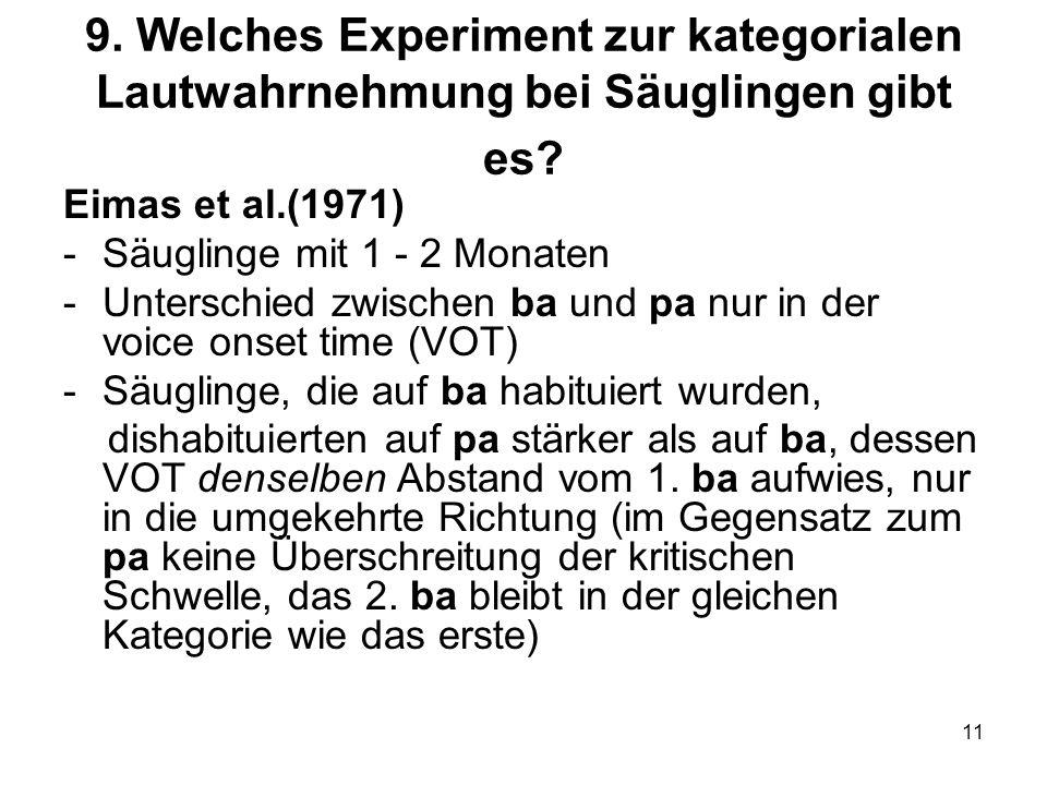 11 9. Welches Experiment zur kategorialen Lautwahrnehmung bei Säuglingen gibt es? Eimas et al.(1971) -Säuglinge mit 1 - 2 Monaten -Unterschied zwische