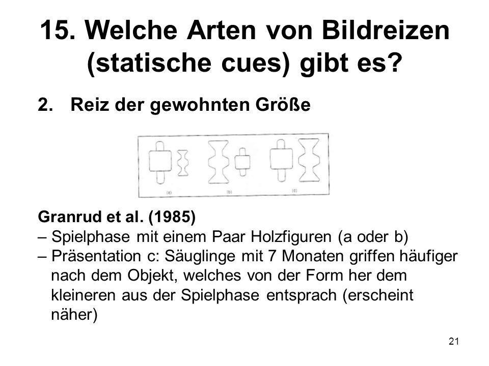 21 15. Welche Arten von Bildreizen (statische cues) gibt es? 2.Reiz der gewohnten Größe Granrud et al. (1985) – Spielphase mit einem Paar Holzfiguren