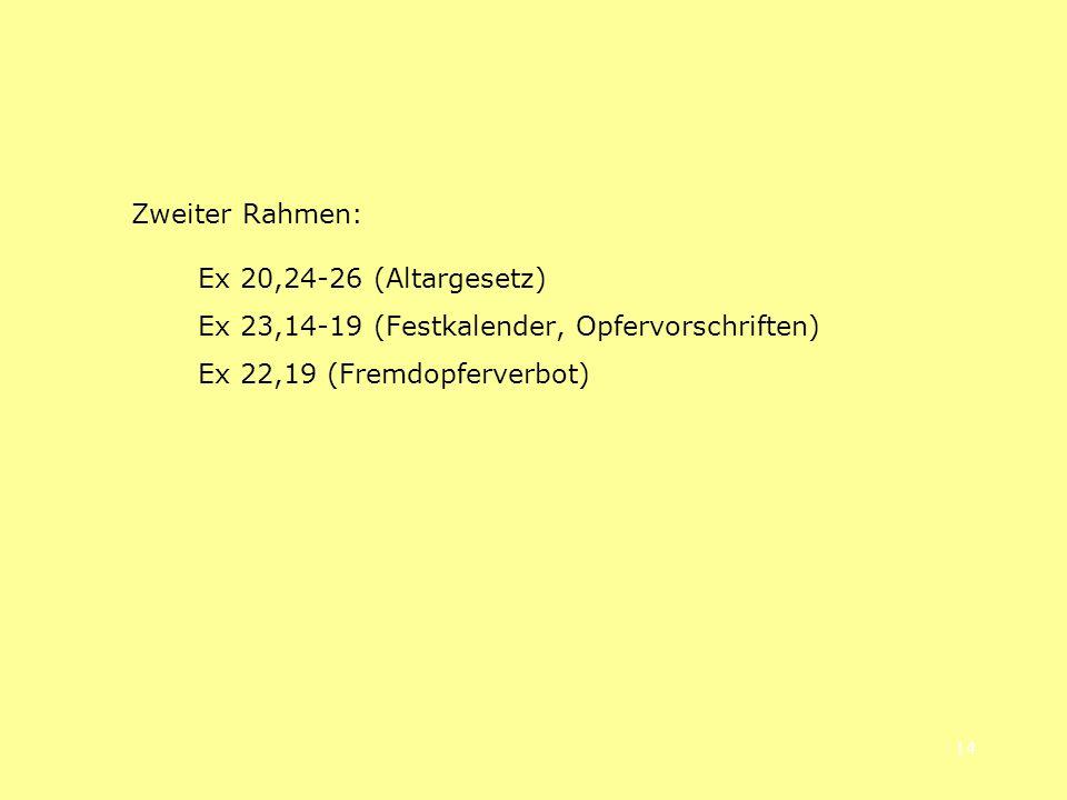 14 Zweiter Rahmen: Ex 20,24-26 (Altargesetz) Ex 23,14-19 (Festkalender, Opfervorschriften) Ex 22,19 (Fremdopferverbot)