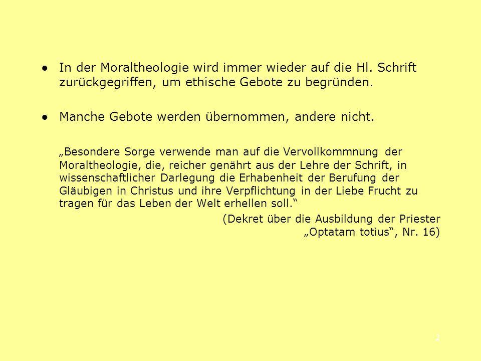 23 1.3 Gebote als Bewahrung der geschenkten Freiheit: Der Dekalog - Zwei Fassungen: Ex 2,2-17 und Dtn 5,6-21.