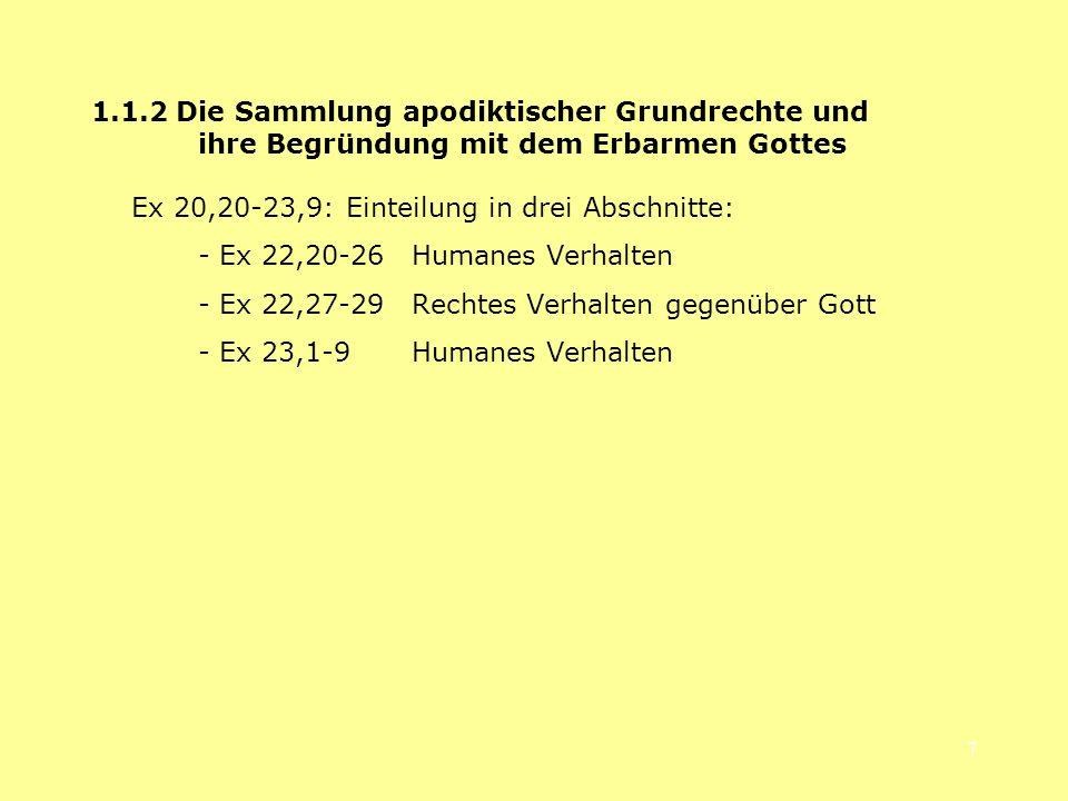 8 21,12.17 21,18-22,16 Erste Sammlung: Kasuistische Rechtssätze 22,20-26 22,27-29 23,1-9 Zweite Sammlung: Apodiktische Rechtssätze