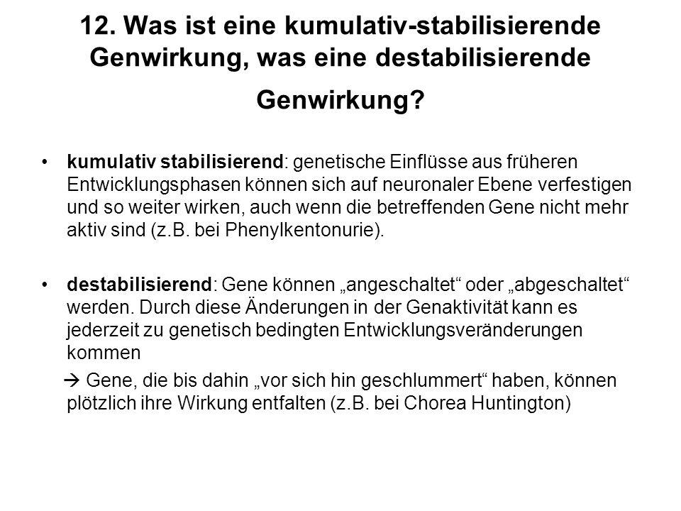12. Was ist eine kumulativ-stabilisierende Genwirkung, was eine destabilisierende Genwirkung? kumulativ stabilisierend: genetische Einflüsse aus frühe