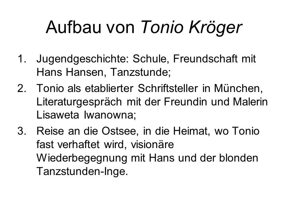 Aufbau von Tonio Kröger 1.Jugendgeschichte: Schule, Freundschaft mit Hans Hansen, Tanzstunde; 2.Tonio als etablierter Schriftsteller in München, Liter