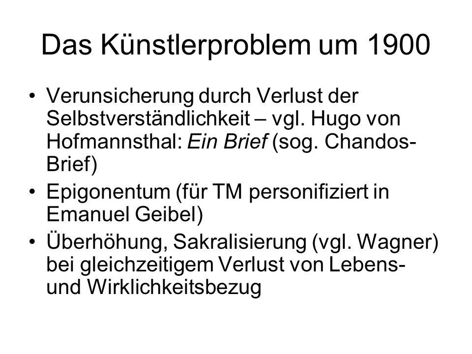 Das Künstlerproblem um 1900 Verunsicherung durch Verlust der Selbstverständlichkeit – vgl. Hugo von Hofmannsthal: Ein Brief (sog. Chandos- Brief) Epig