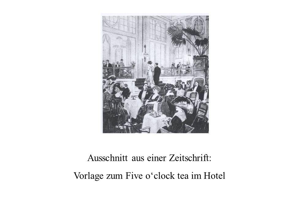 Ausschnitt aus einer Zeitschrift: Vorlage zum Five oclock tea im Hotel