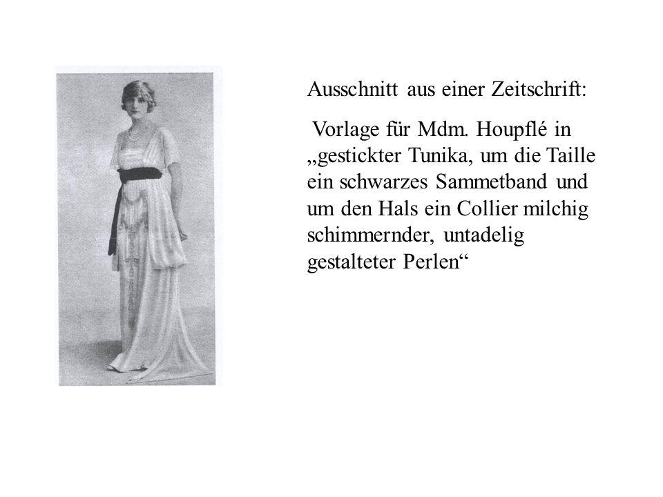 Ausschnitt aus einer Zeitschrift: Vorlage für Mdm. Houpflé in gestickter Tunika, um die Taille ein schwarzes Sammetband und um den Hals ein Collier mi